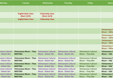 Activities in February 2019 – Lịch Sinh Hoạt Tháng 2/2019