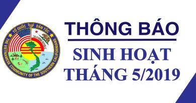 THÔNG BÁO SINH HOẠT THÁNG 5 / 2019
