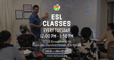 Lớp Học Tiếng Anh Cơ Bản Miễn Phí – FREE ESL Classes 2019-2020